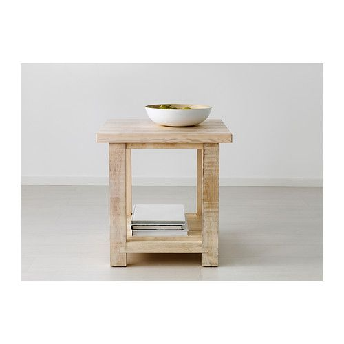 Rekarne side table ikea table in solid white stained pine for Pine desk ikea