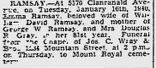 Ramsey, Emma January 16,1960 Montreal Gazette Obituary