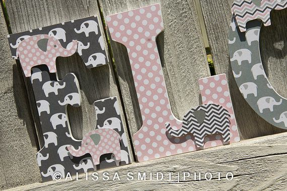 Custom Nursery Wooden Letters, Baby Girl Nursery - Elephant Theme Custom Letters, 9 Inch Size (pink and grey, pink and gray)