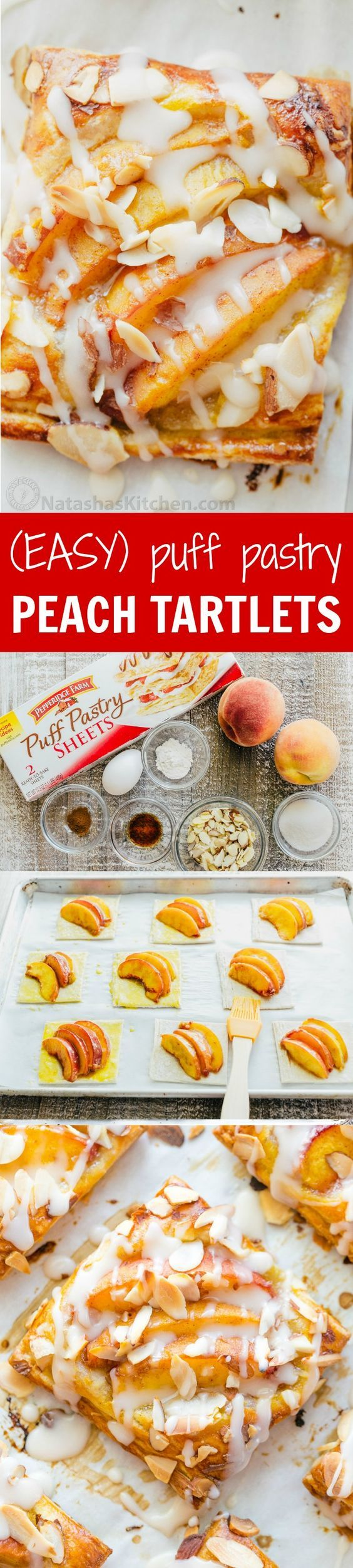 Peach tartlets with juicy peaches, toasted almonds & vanilla glaze over a flaky crust. Puff pastry peach tartlets always get RAVE REVIEWS! Easy, excellent..