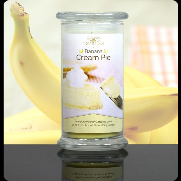 Yummy!!! Banana Cream Pie candle with surprise jewelry inside!  Also available in wax tarts!!  Get yours at http://sizzlingjewelry.info