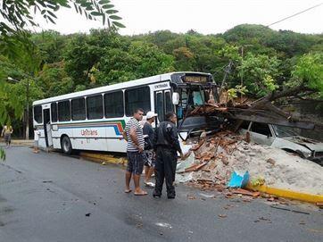 Veículo derrubou parede do bar Um homem foi preso na manhã deste domingo (8) depois de roubar um ônibus da empresa Transnacional. O caso ocorreu na praia da Penha, em João Pessoa, mas o acidente f...