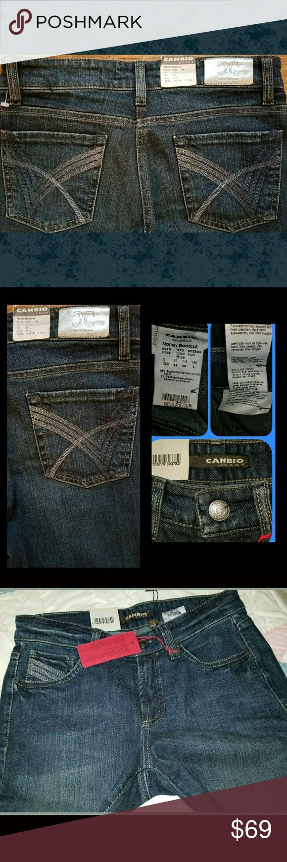 Cambio Euro Line Jeans Norah Boot cut NWT great jeans euro line CAMBIO & apparently pretty popular across the pond and down thru the woods....  a bit odd imho is the seaming . at crotch it doesn't line up exactly I inquired about this to salesperson whom where I purchased & she told me that is the way they were made.  bought a bunch of these a while back.have 3 pair left. 2 of this style & another also bootcut but darker wash.   fading . abrasions. embroidered back luxe denim contract…
