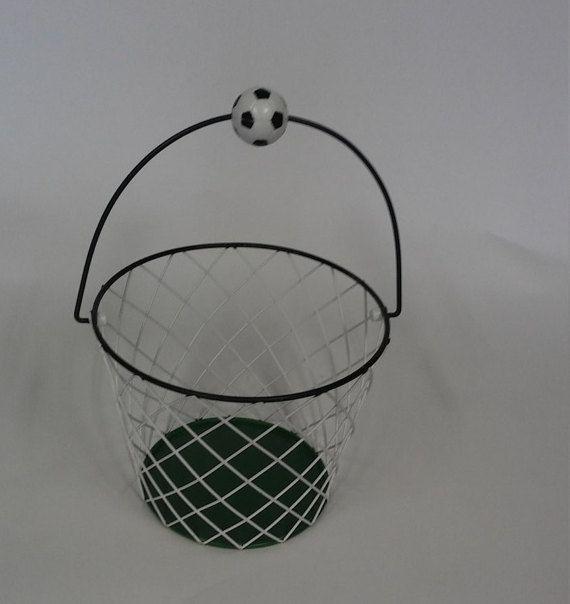 Metal Soccer Basket with Soccer Ball Handle by shoponwebstreet