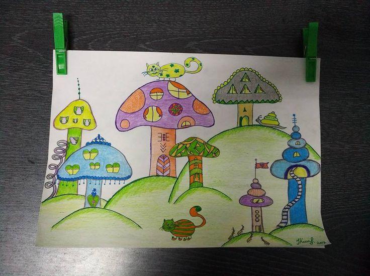 Mushroom city by Ieva Krivma Art