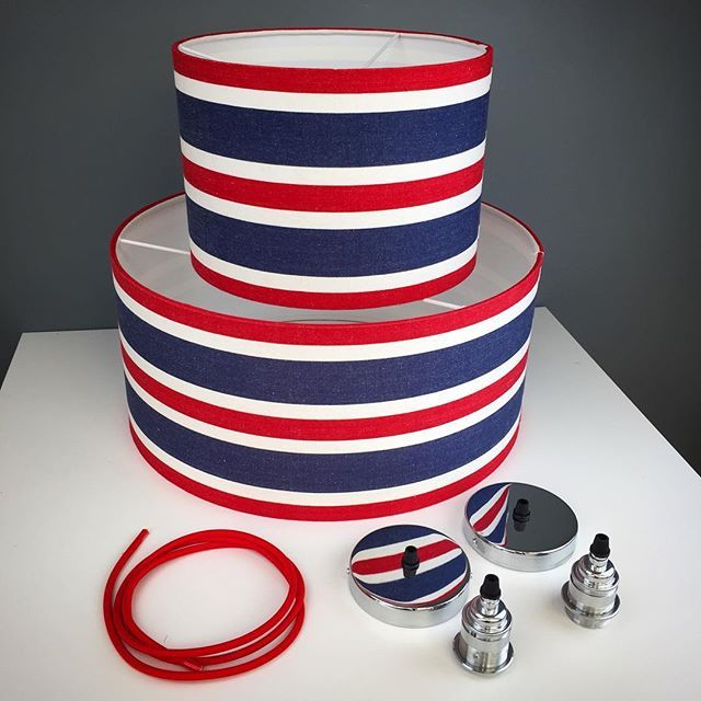 Red White And Navy Deckchair Stripe Nautical Lampshade Beach Pinterest