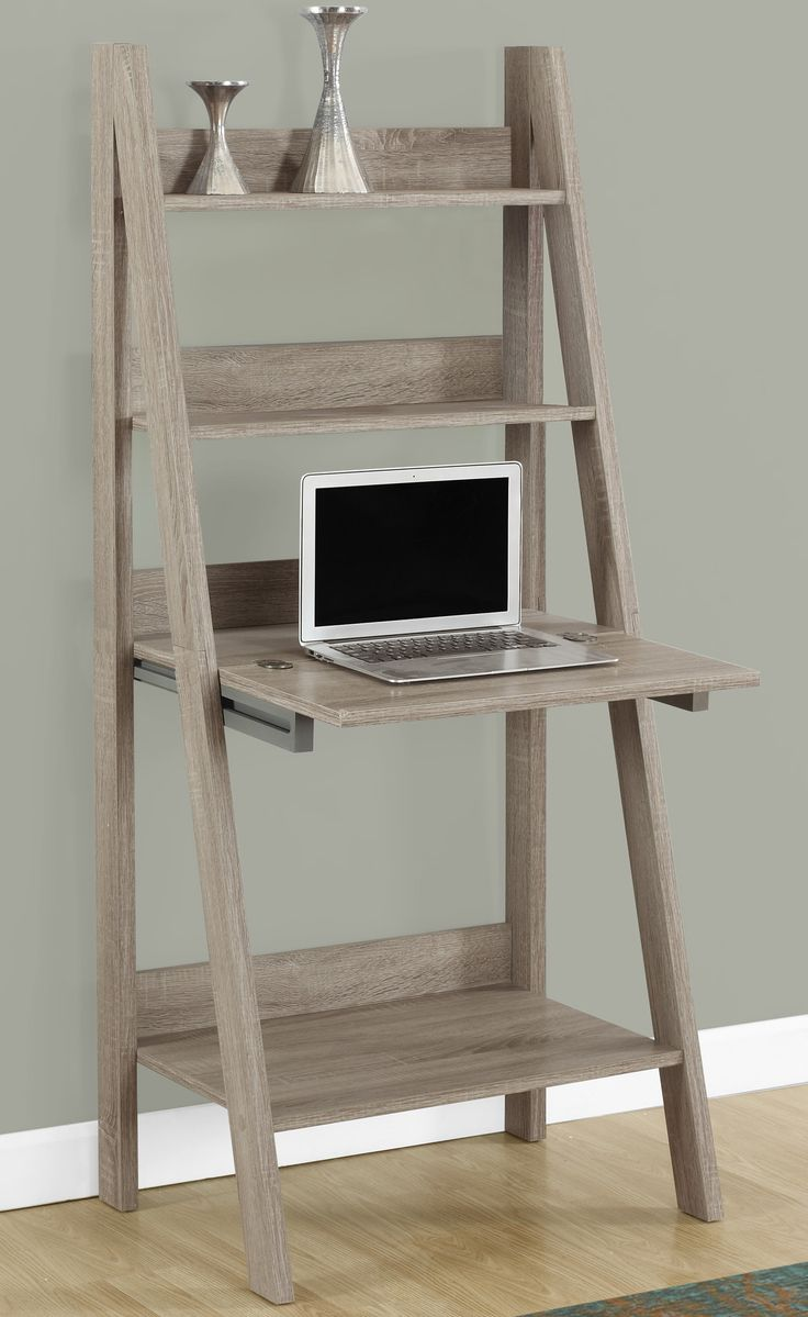 Features:  -Ladder style shelves.  -Closed storage drops down to create work area ideal for laptops.  -Convenient for small spaces.  -Blends well with most decors.  Top Material: -Wood.  Base Material