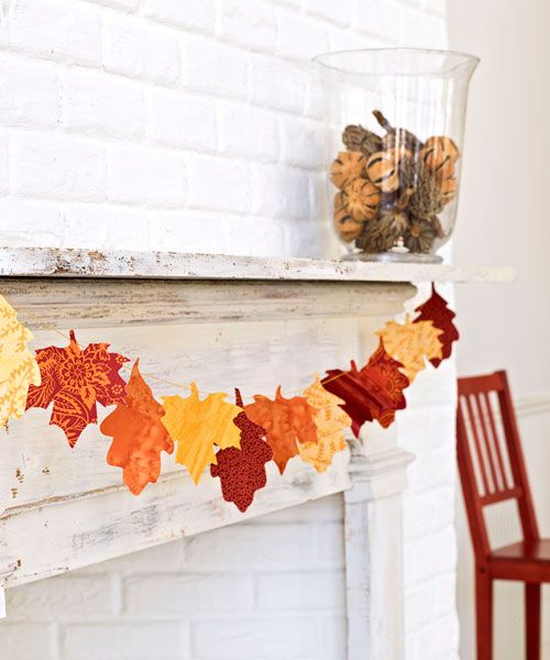Leaf Garland -- Hang fabric scraps in harvest hues, cleverly cut in the shape of leaves. Get the tutorial here »