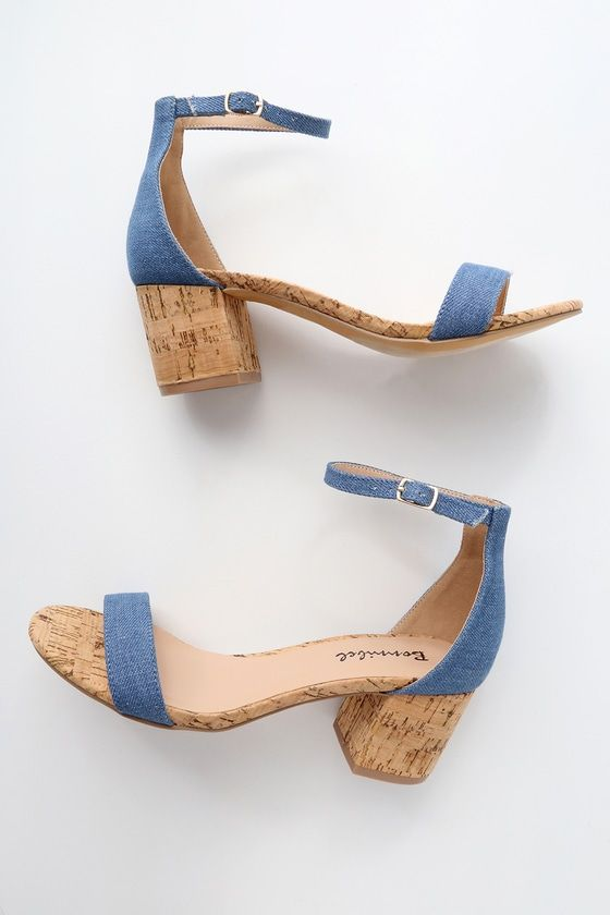209010a0c2e Brooke Blue Cork Ankle Strap Heels in 2019 | want | Ankle straps ...