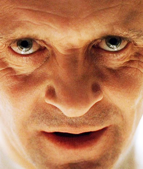 "Anthony Hopkins in Silence of the Lambs as Hannibal Lecter ~""Good evening, Clarice."""