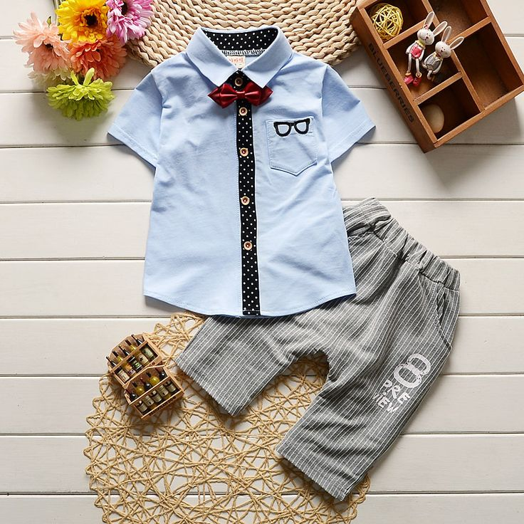 Toddler Children Clothes Summer Baby Boys Clothing Sets Gentleman Clothes Suits Kids Sweatshirt Child Formal Shirt+short Pants