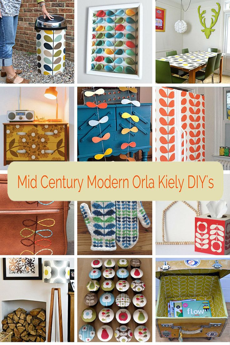 Get the mid century modern look by doing some Orla Kiely inspired crafts and DIY's. A roundup of 12 fantastic Orla Kiely crafts and upcycles for the home.