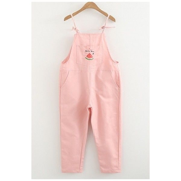 Lovely Watermelon Embroidered Girls' Casual Leisure Capris Overall... (416.590 IDR) ❤ liked on Polyvore featuring pants, capris, pink overalls, capri trousers, pink trousers, bib overalls and pink bib overalls