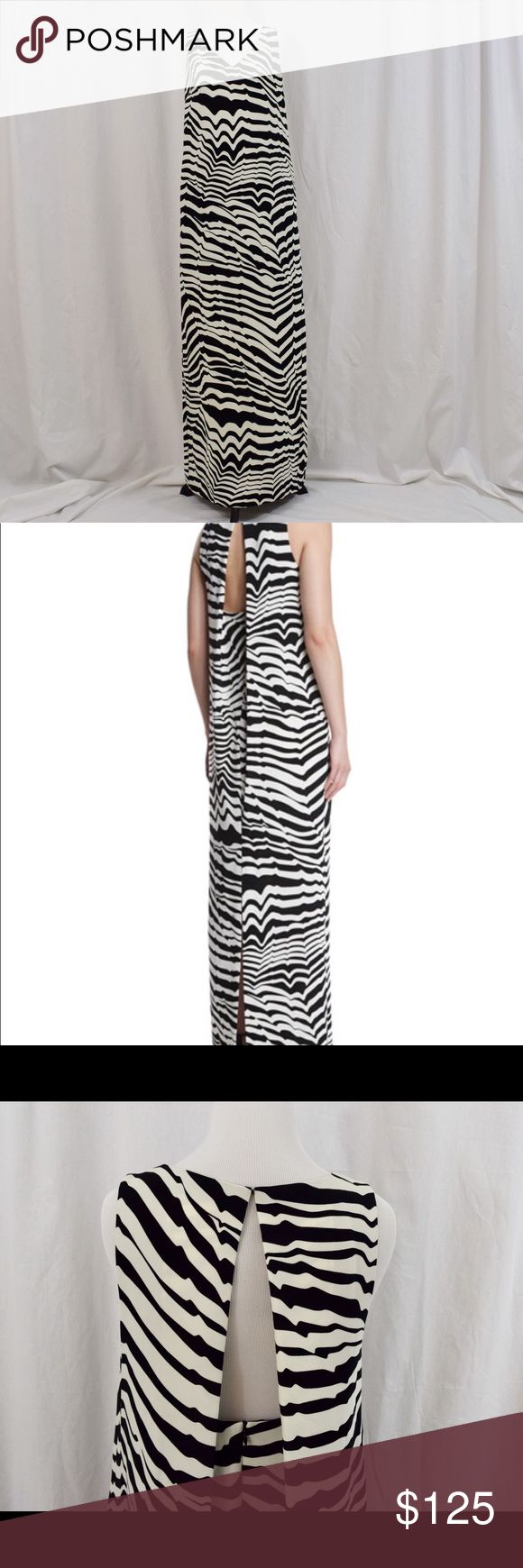 "Trina Turk Sleeveless Animal-Print Maxi Dress Black and cream geometric animal-print maxi dress. V neckline, draped keyhole back. 2 hidden side pockets. Zipper closure in back. Approximately from top of back to hem is 58"". Trina Turk Dresses Maxi"