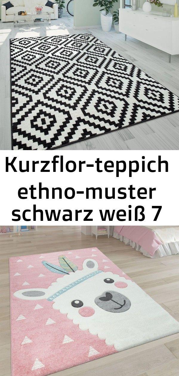 Kurzflor Teppich Ethno Muster Schwarz Weiss 7 Decor Home Decor Rugs