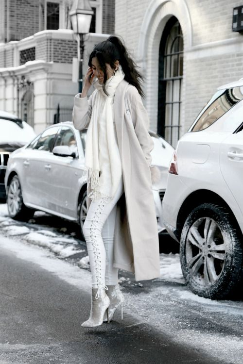 winter white ootd! i love the look of super bright neutrals in the snow, these pd boots have been my favorite shoes ever since I got them