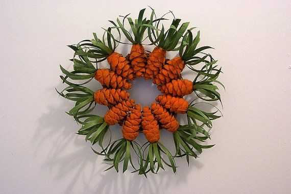 Pine Cone Carrot Wreath Easter Spring or by WestTwinCreationsLLC