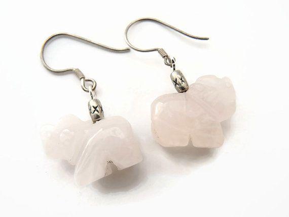 Roze rozekwarts oorbellen, handgemaakt kralen half edelsteen hangende oorbellen in vorm van olifant, van rozekwarts, zilveren oorhaakjes