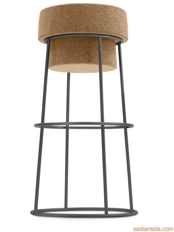 Bouchon - Sgabello con struttura in metallo antracite