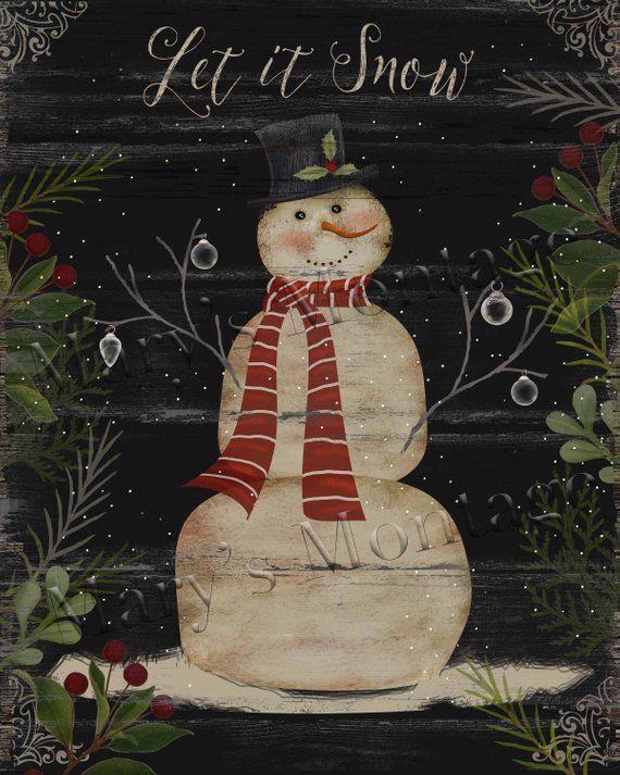 Primitive Distressed Christmas Winter Snowman Let it Snow Folk Art PRINT 8x10