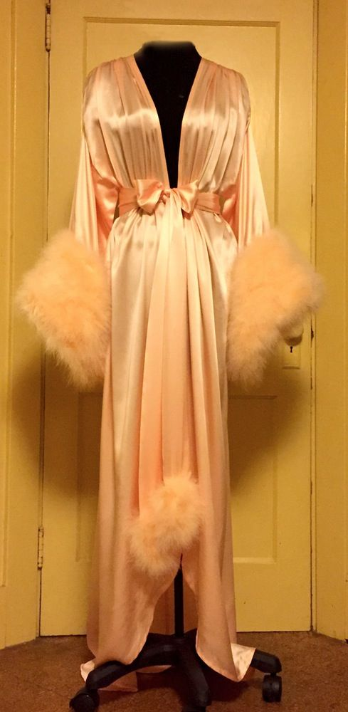 Image of Silk Charmeuse Dressing Gown w/ Marabou Cuffs