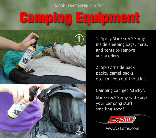 How to remove odors from Camping Equipment. 2Toms Stink Free Spray. #stinkfree www.2toms.com/