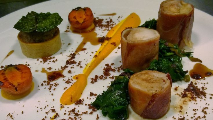 Ballotine of Rabbit wrapped in Bayonne ham with carrot & carraway puree, rainbow chard, brown butter crumb, rabbit hot pot & rabbit jus.
