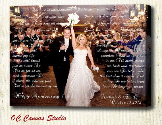 Newlyweds Gift. Personalized Wedding Photo Gallery Wrapped Canvas. First Dance, Wedding Songs, Lyrics. Perfect  Wall Decor. 16x20 inches