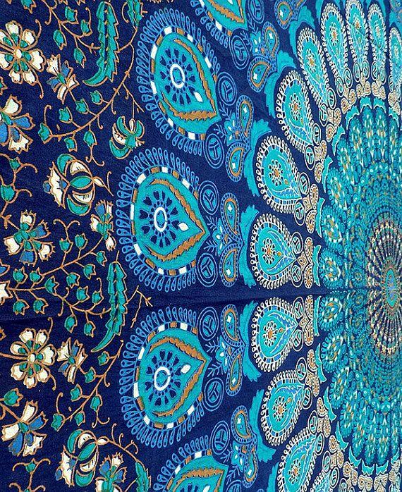 Bleu Mandala coton tissu tapisserie Hippie par FabricSarmaya