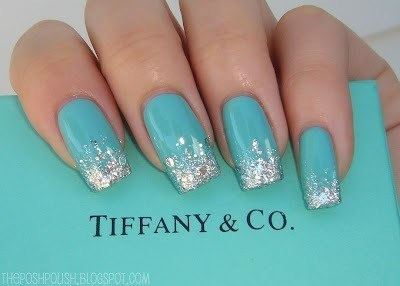 aqua blue nails with sparkled tips