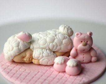 Baby sheep fondant baby topper - baby lamb topper - baptism cake topper - christening fondant topper - first birthday