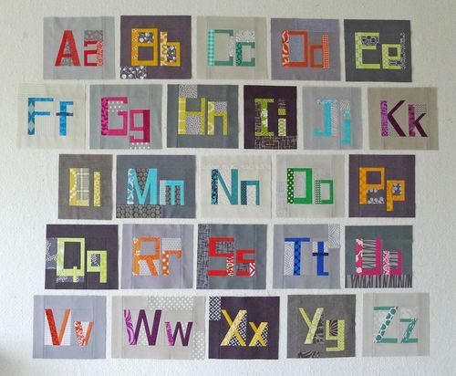 Alphabet in fabric. Could string these together, quilt, bind and hang where walls & ceiling meet in kid's room.: Elizabeth Hartman, Alphabet Blocks, Refrigerator Magnets, Refrig Magnets, Magnets Quilts, Quilts Blocks Patterns, Refrigerators Magnets, Alphabet Quilts, Block Patterns