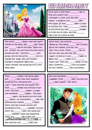 Sts read the fairy tale and fill in the sentences with past simple. b&w included - ESL worksheets