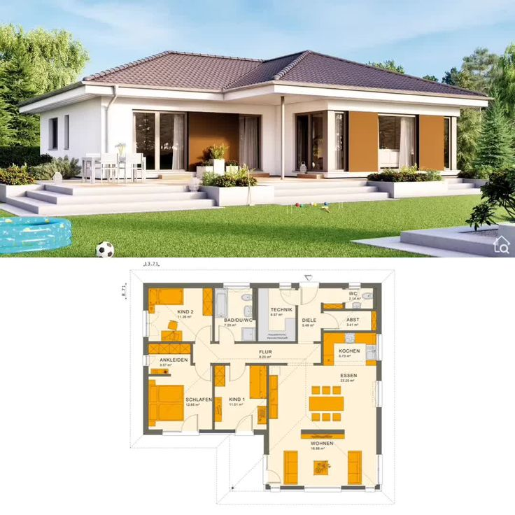 Newhome Ideas Interior: Bungalow House Plans With Open Floor & L Shaped Modern