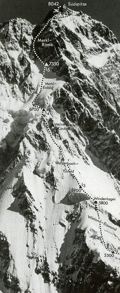 First Ascent Of Nanga Parbat Rupal Face June 1970 Climbing Route