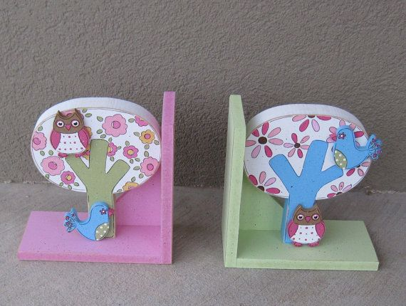 Tree Owl and Bird bookends for children library by lisabees, $39.95
