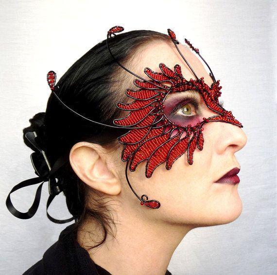 Red and black bird masquerade mask by gringrimaceandsqueak on Etsy, £300.00