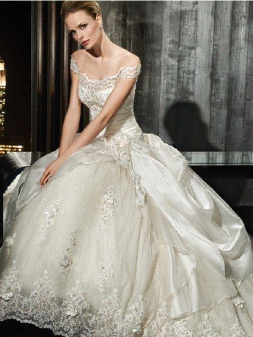 Off the Shoulder A-line/Princess Applique Lace Kapel Trein Wedding Jurkje