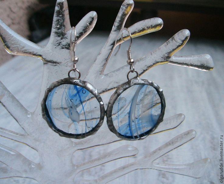 """Купить витражные серьги """"Дух времени"""" - синий, серьги ручной работы, купить серьги, Витраж"""