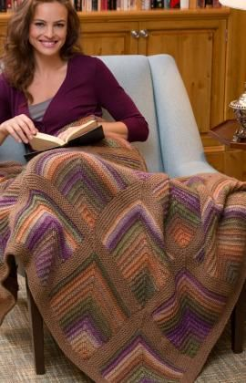 Mitered Square Throw and Pillow Free Knitting Pattern from Red Heart Yarns
