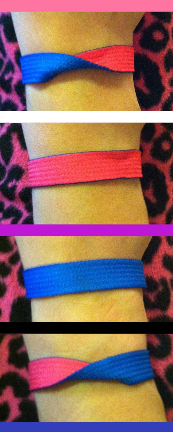 Etsy seller ForeverFolding hand-makes this gender-fluid bracelet out of ribbon. Reversible, with snaps. Turn the bracelet so it shows a color for your current gender.