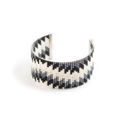 BRACELET TISSÉ - PLAQUÉE ARGENT - PERLES MIYUKI - ARGENT - NOIR ET BLANC  : Bracelet par tadaam-bijoux