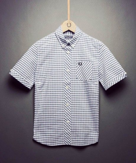 Slim fit, gingham cotton shirt, forming part of Laurel Wreath Re-issues - a collection of classic archive pieces re-released with original styling details. Features include a neat button down collar, V notch detail to the cuff and a back box pleat with a