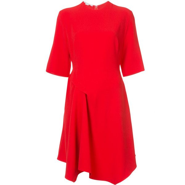 Stella McCartney drape detail dress (16,910 MXN) ❤ liked on Polyvore featuring dresses, red, red going out dresses, short sleeve dress, stella mccartney dresses, round neckline dress and holiday party dresses
