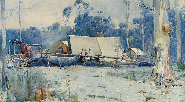 An image of A surveyor's camp by Arthur Streeton