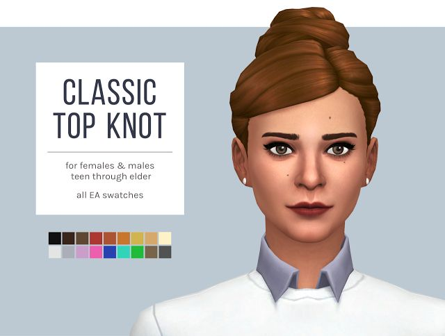 Sims 4 CC's - The Best: Classic Top Knot Hair by Femmeonamissionsims
