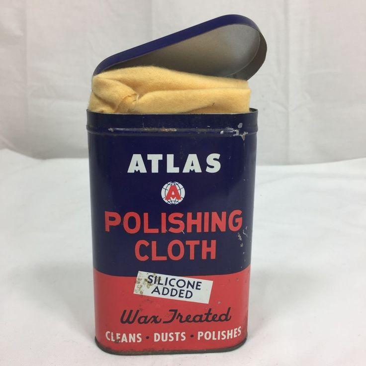 Vtg ATLAS Auto Polishing Tin Container w/ ORIGINAL CLOTH Metal Can 1950s Rat Rod  | eBay