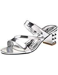 161fe6e496dc Lolittas Summer Sandals for Women Sliver Gold Sparkly Glitter Mid High  Block Chunky Heel Peep Toe
