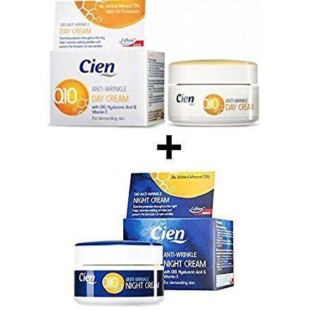 Lot de 2 Cremes Anti-rides (Crème de nuit 50 ml + Creme de Jour 50 ml) – avec la Coenzyme Q10, l'acide hyaluronique, et vitamine E – Peaux…