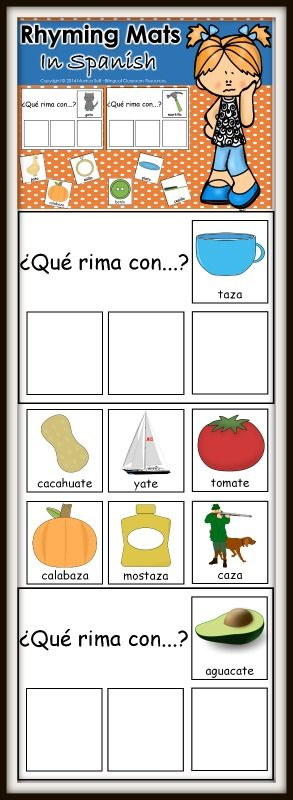 This activity is a great way to helps kids identify rhyming sounds. Students will find the 3 picture cards that rhyme with the picture on the mat. Included are 20 rhyming mats.  To use this activity, print and laminate the mats and sorting cards. Have your students sort the cards and match them with the correct rhyming words.